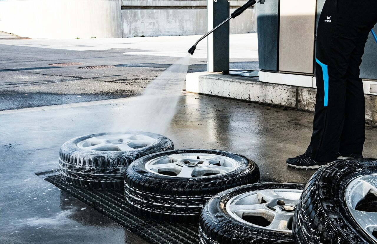 Tire Getting Pressure Washed